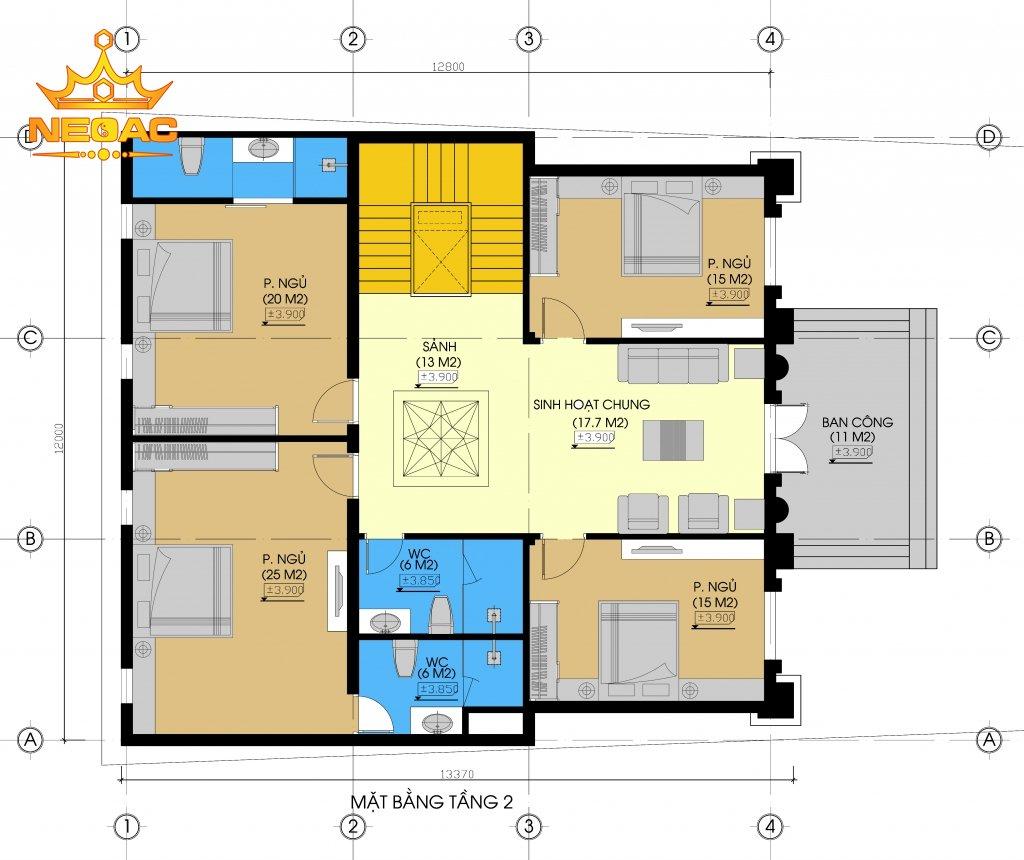 Hồ sơ thiết kế biệt thự 2 tầng tân cổ điển 250m2