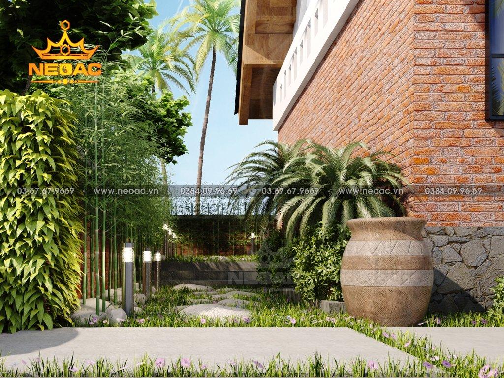 Thiết kế biệt thự 1 tầng mái Thái 150m2