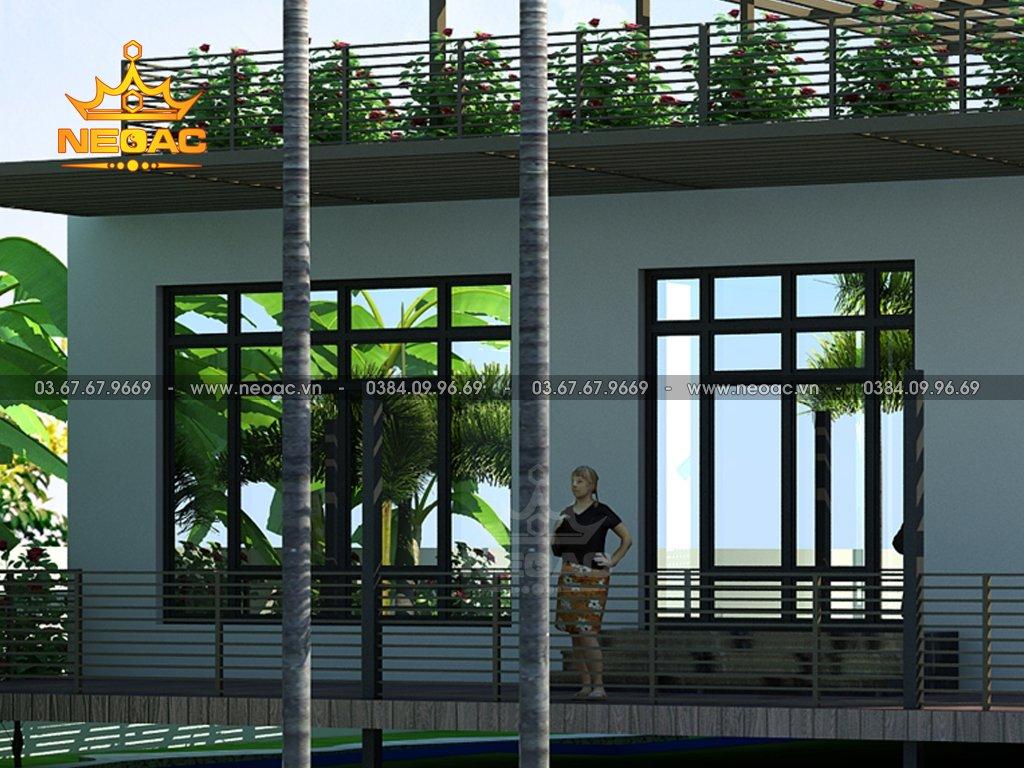 Thiết kế kiến trúc biệt thự mái bằng 1 tầng 350m2