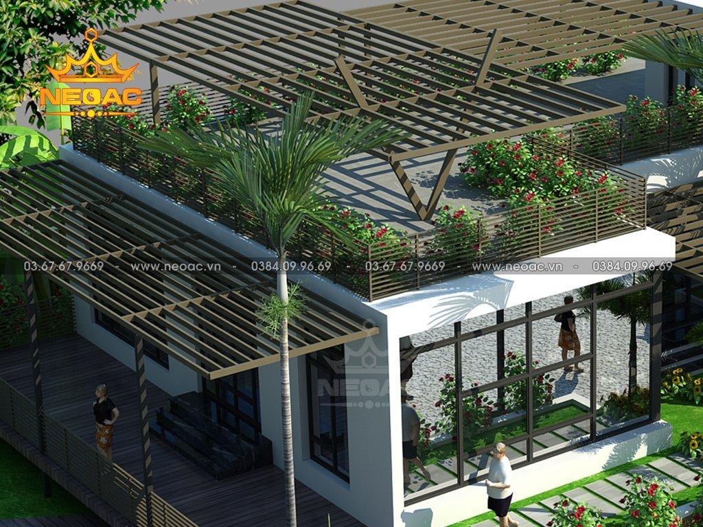 Thiết kế biệt thự mái bằng 1 tầng 350m2