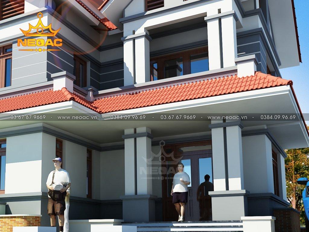 Thiết kế kiến trúc biệt thự 2 tầng mái Thái 100m2