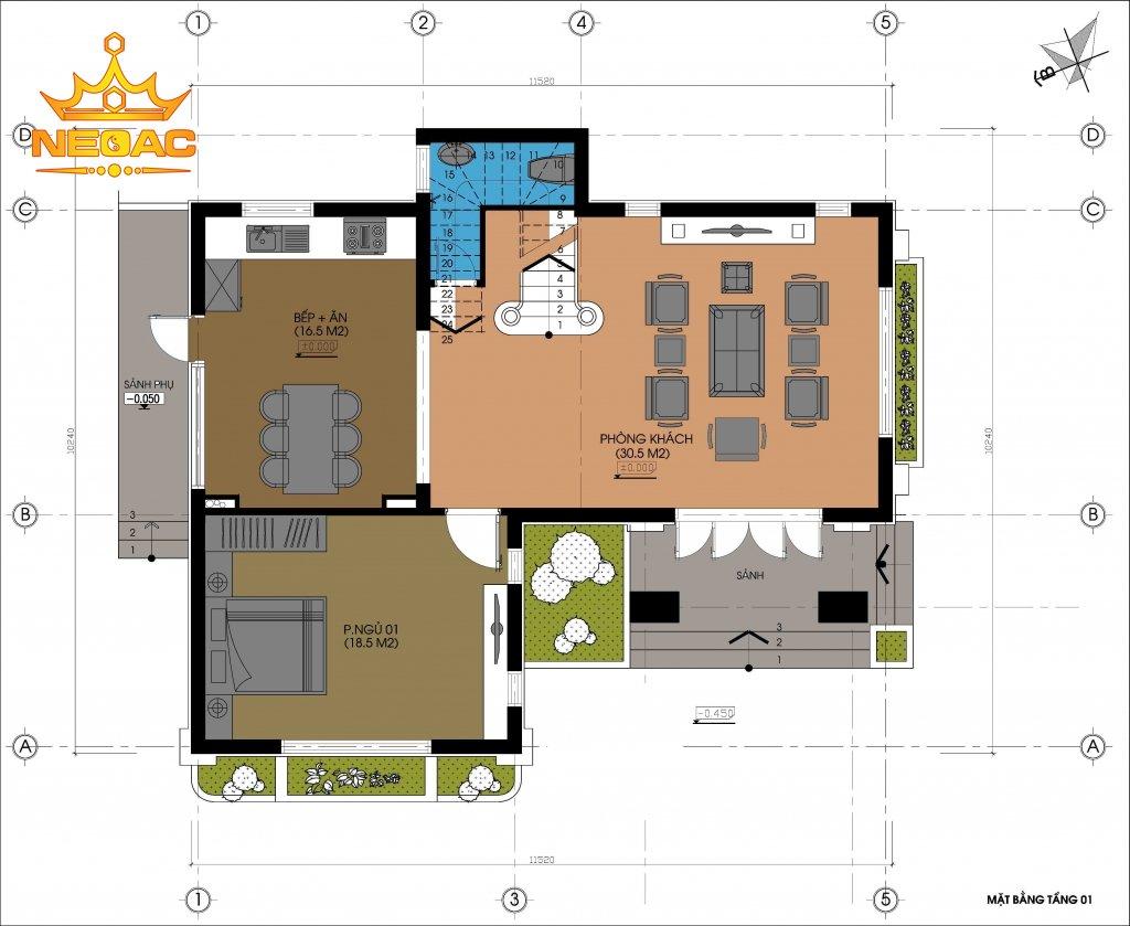 Xây dựng biệt thự 2 tầng hiện đại 100m2