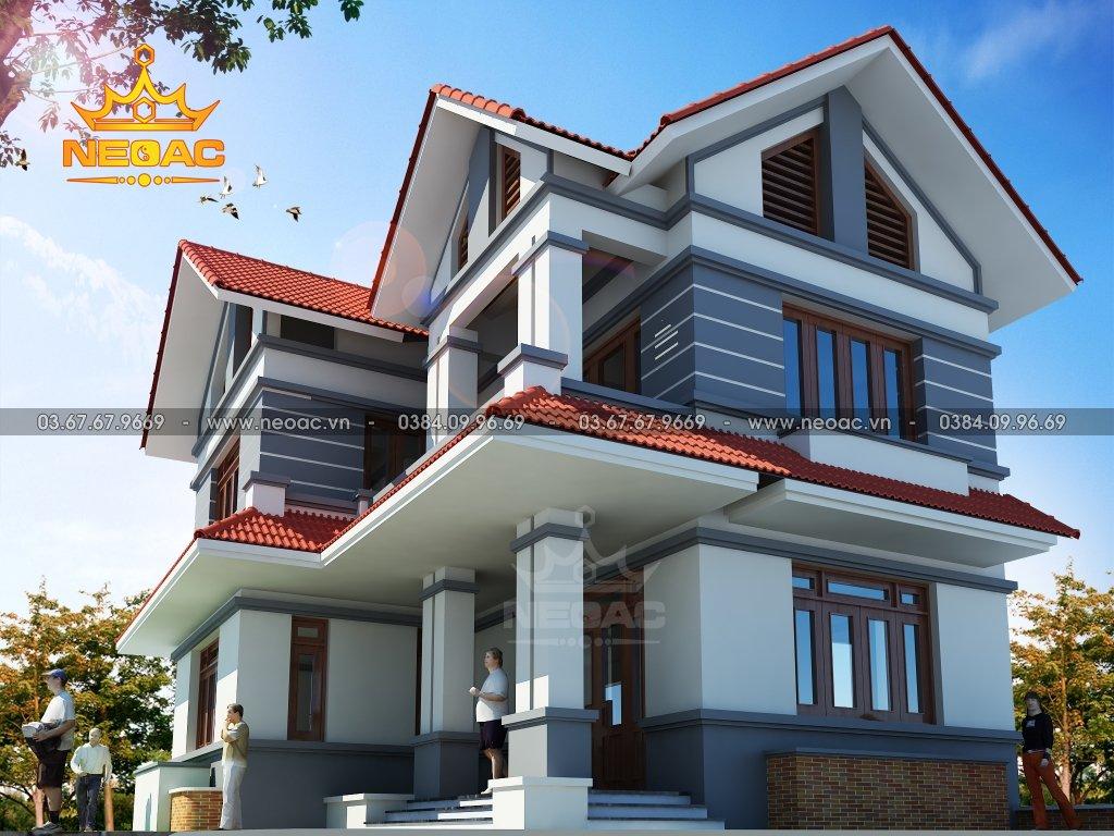 Thiết kế kiến trúc biệt thự mái Thái 2 tầng 100m2