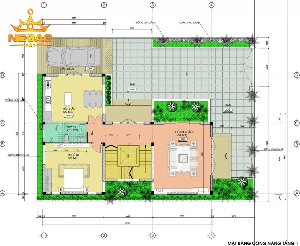 Thiết kế biệt thự mái bằng 2 tầng 120m2