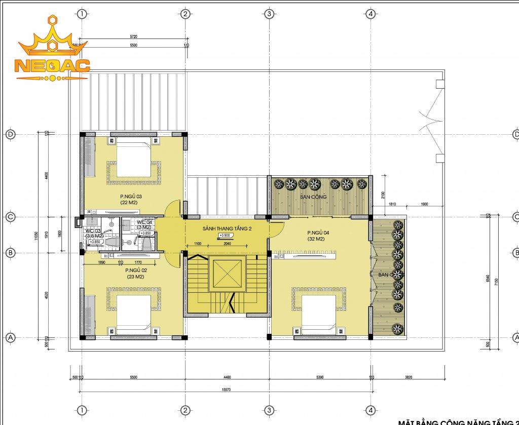 Xây dựng biệt thự mái bằng 2 tầng 120m2
