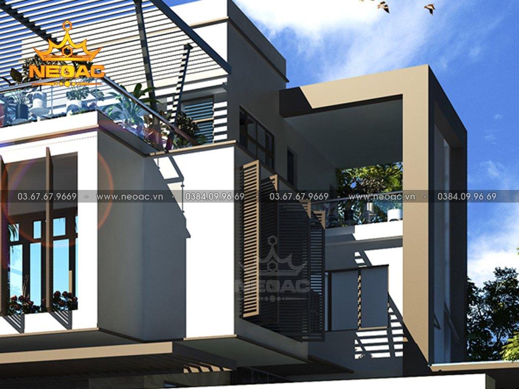 Thiết kế kiến trúc biệt thự 2 tầng mái bằng 120m2