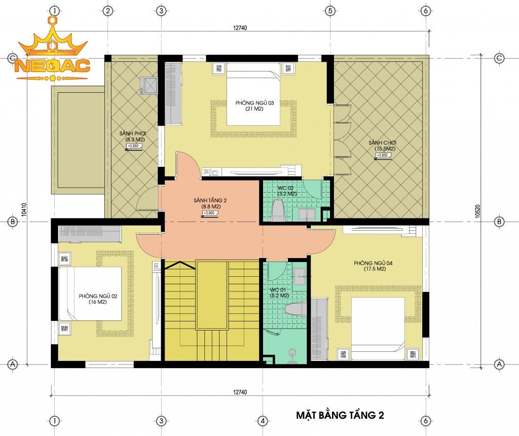 Thiết kế kiến trúc biệt thự 2 tầng hiện đại 130m2