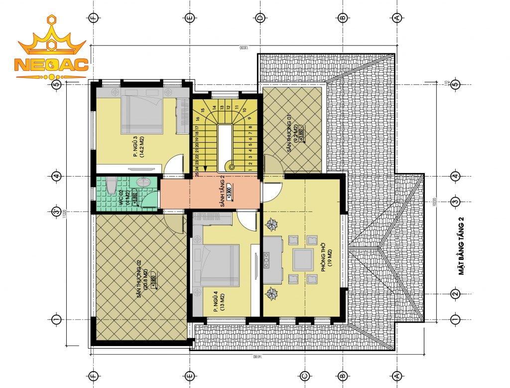 Thiết kế kiến trúc biệt thự 2 tầng mái Thái 140m2