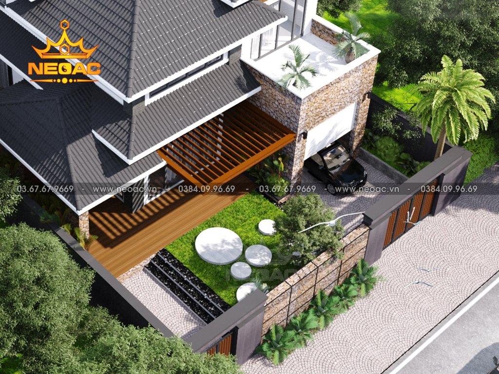 Thiết kế biệt thự mái Thái 2 tầng 150m2