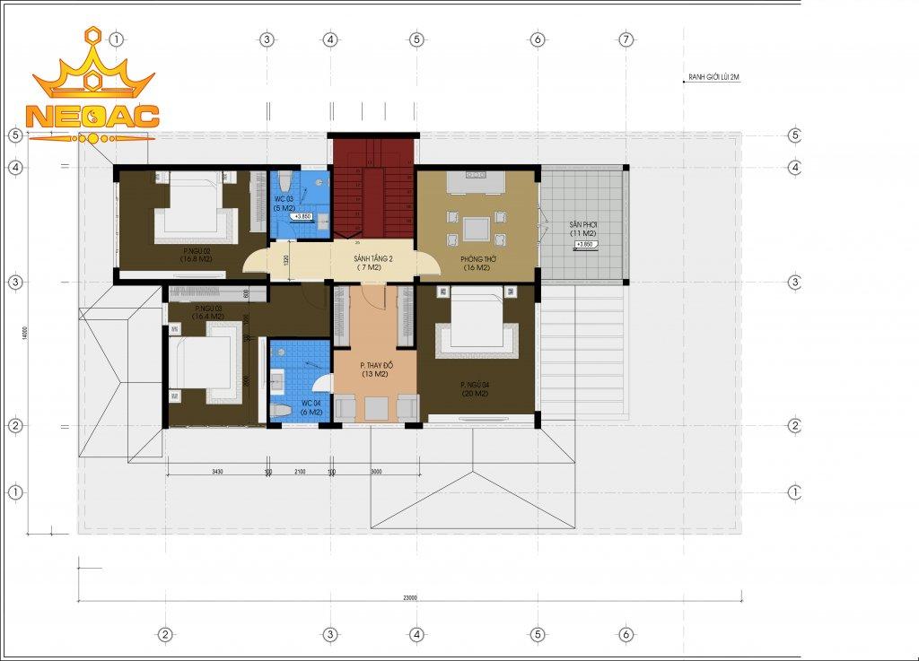 Thiết kế kiến trúc biệt thự mái Thái 2 tầng 150m2