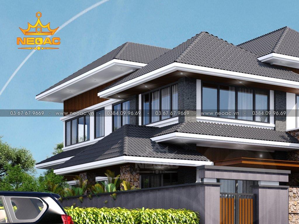 Thiết kế kiến trúc biệt thự 2 tầng mái Thái 150m2