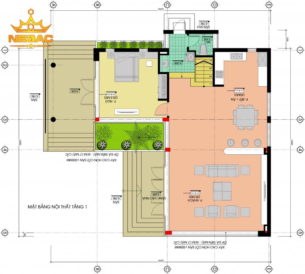 Thiết kế kiến trúc biệt thự mái bằng 2 tầng 160m2