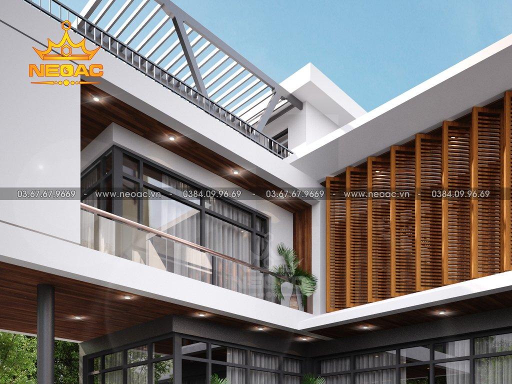 Kiến trúc biệt thự mái bằng 2 tầng 160m2