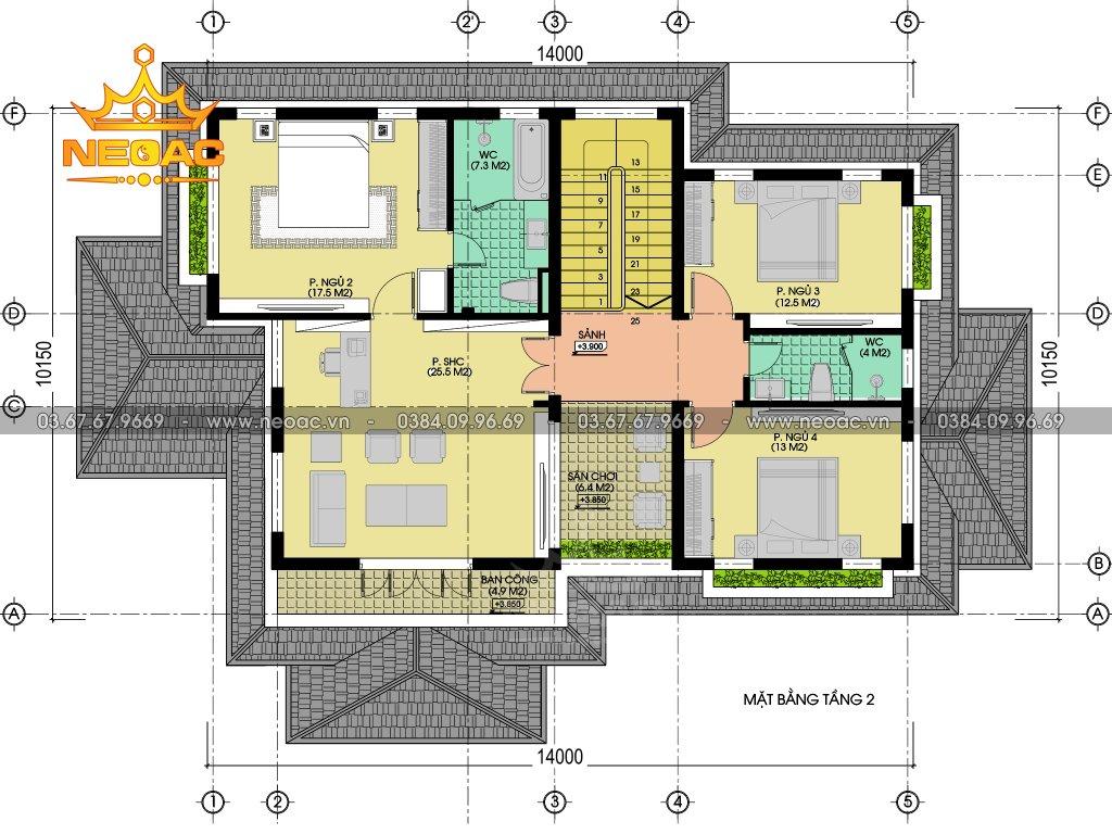 Xây dựng biệt thự 2 tầng 172m2