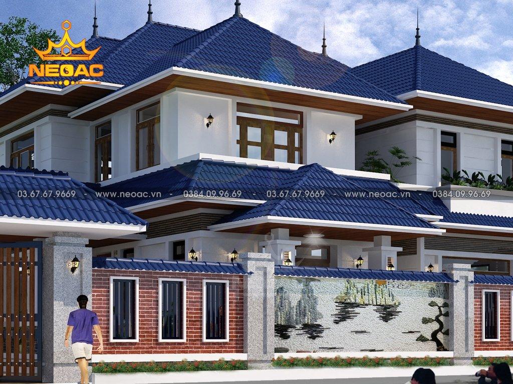 Bản vẽ biệt thự mái Thái 2 tầng 172m2