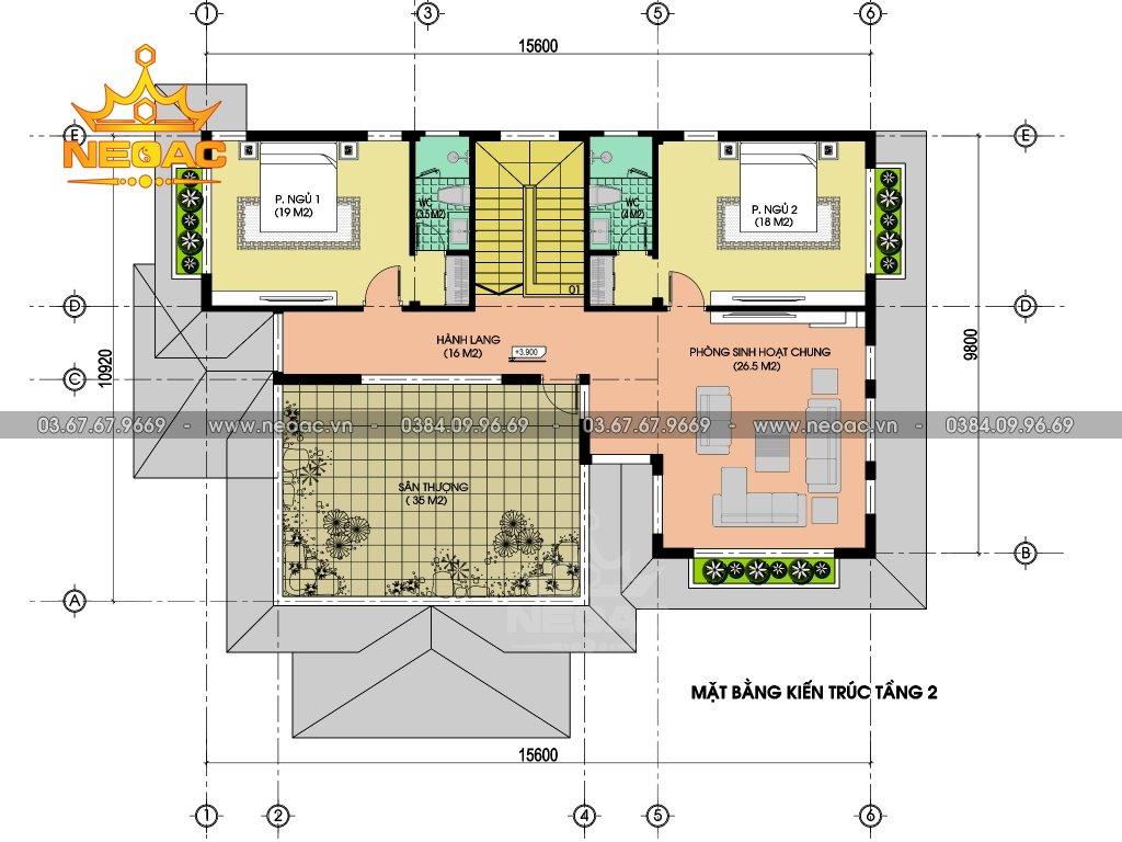Thiết kế kiến trúc biệt thự 2 tầng hiện đại 220m2