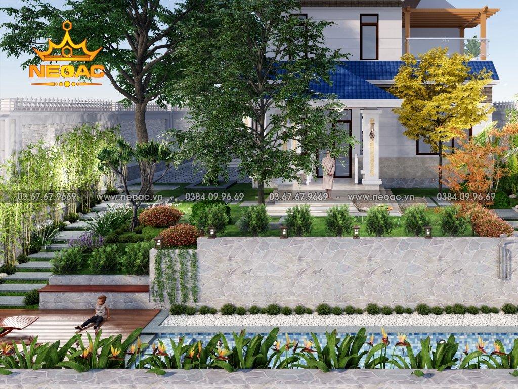 Bản vẽ biệt thự mái Thái 2 tầng 220m2