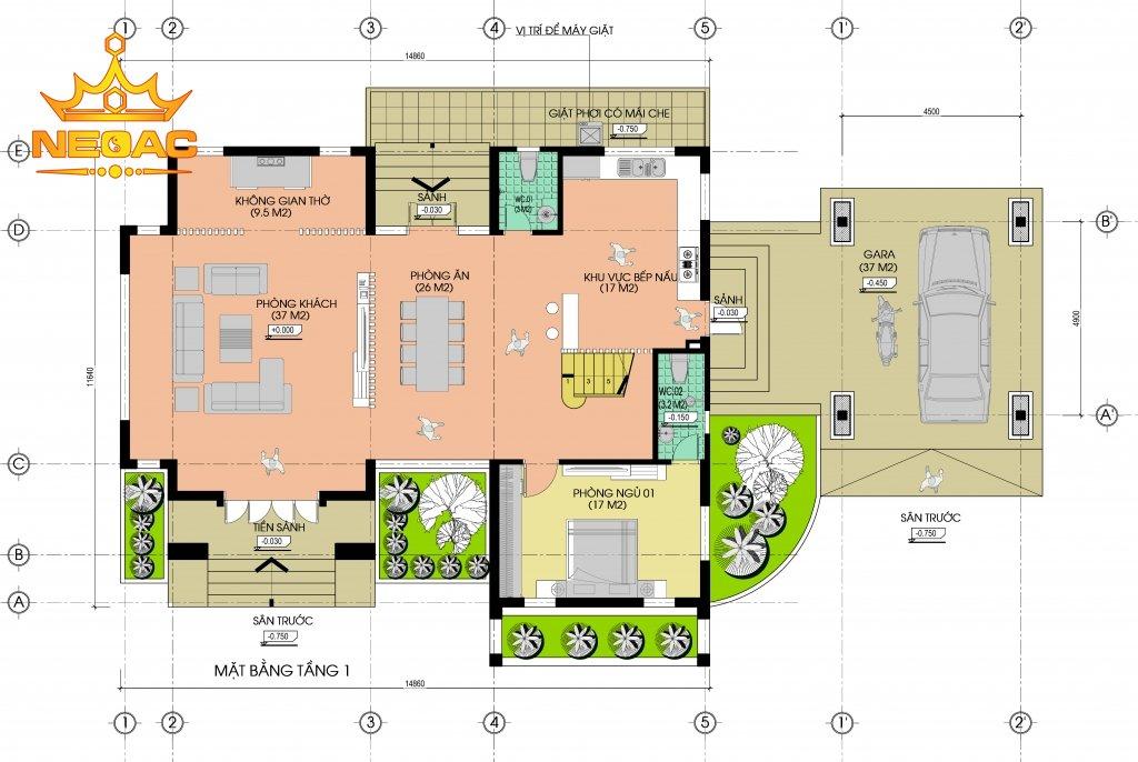 Biệt thự 2 tầng hiện đại 250m2