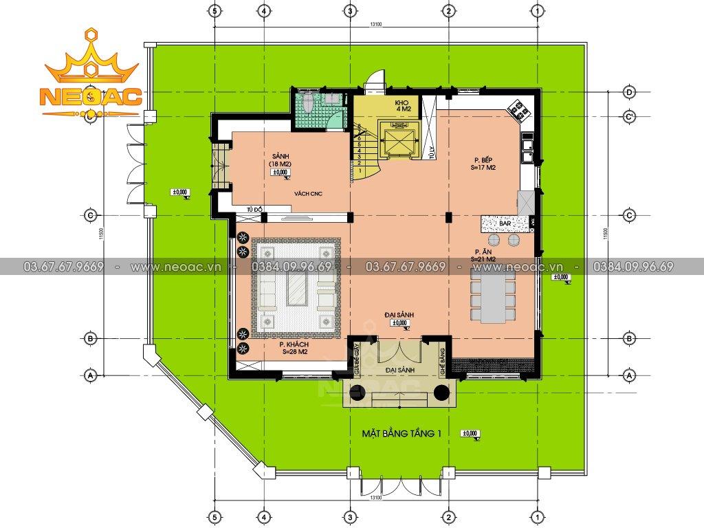 Biệt thự Pháp 3 tầng 140m2