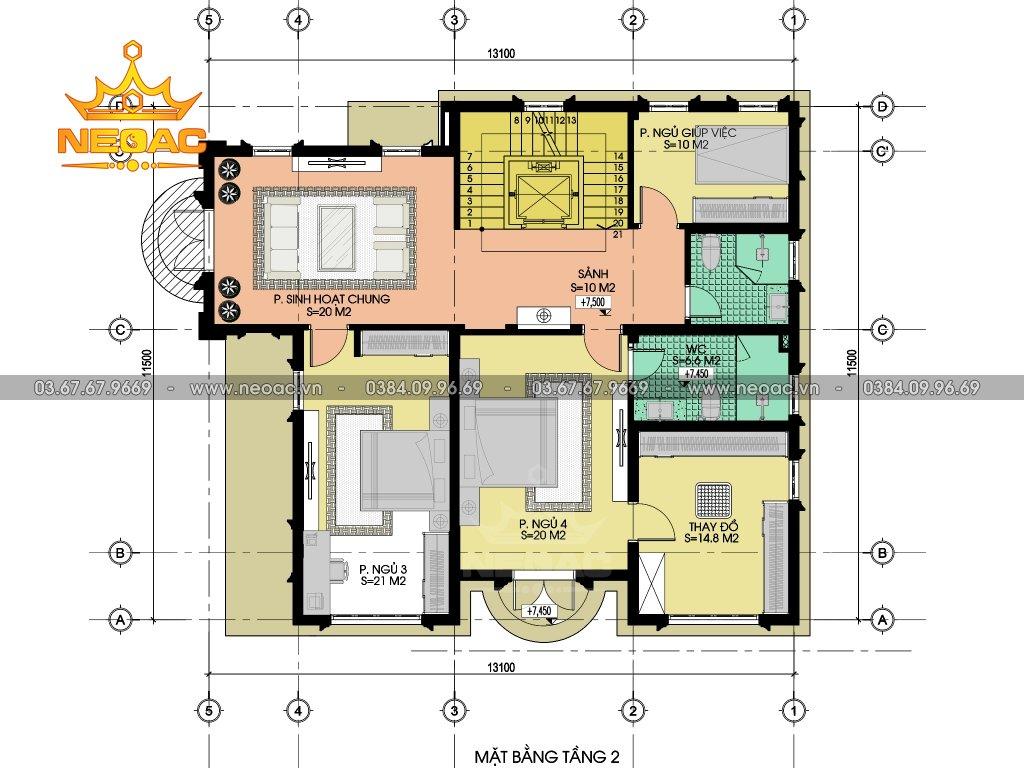 Bản vẽ biệt thự Pháp 3 tầng 140m2