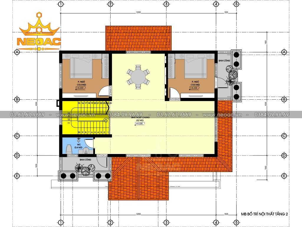 Mẫu biệt thự 3 tầng tân cổ điển 145m2