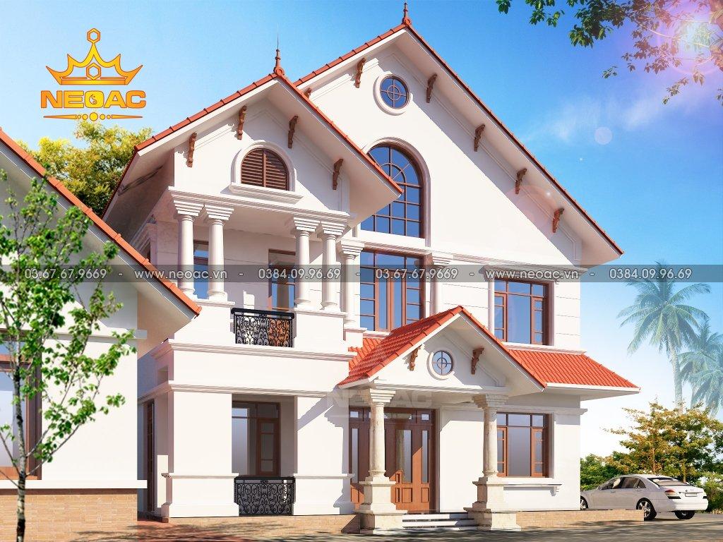 Thiết kế kiến trúc biệt thự 3 tầng mái Thái 145m2