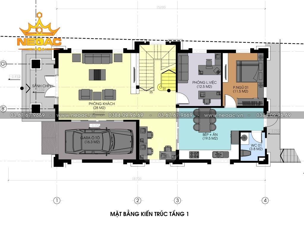 Thiết kế kiến trúc biệt thự 3 tầng tân cổ điển 160m2