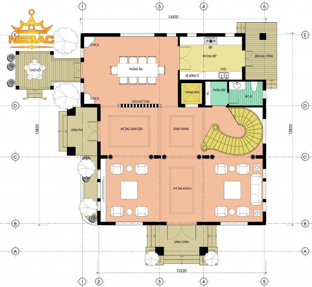 Bản vẽ biệt thự Pháp 3 tầng 175m2