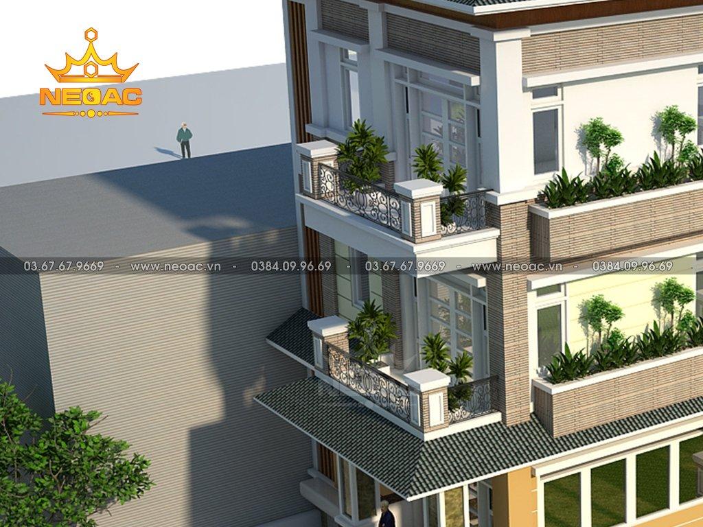 Thiết kế biệt thự 4 tầng mái Thái 120m2