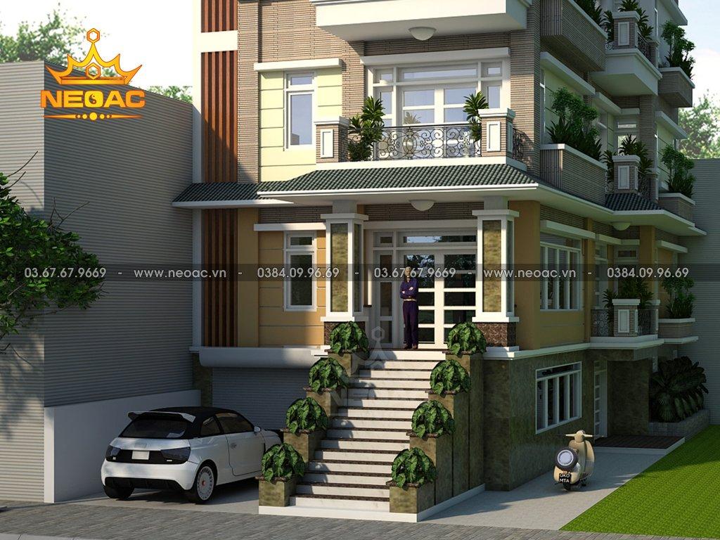 Xây dựng biệt thự 4 tầng mái Thái 120m2