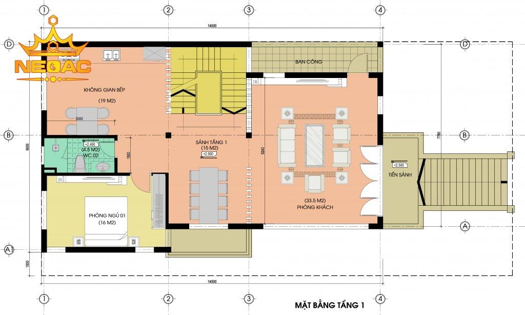 Hồ sơ biệt thự hiện đại 4 tầng 120m2