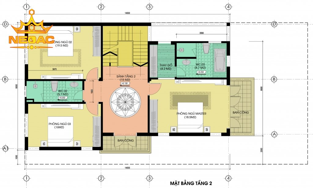 Thiết kế biệt thự hiện đại 4 tầng 120m2