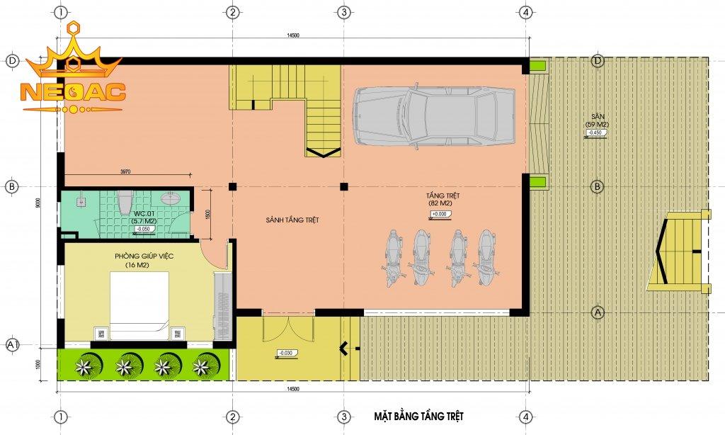 Bản vẽ biệt thự hiện đại 4 tầng 120m2