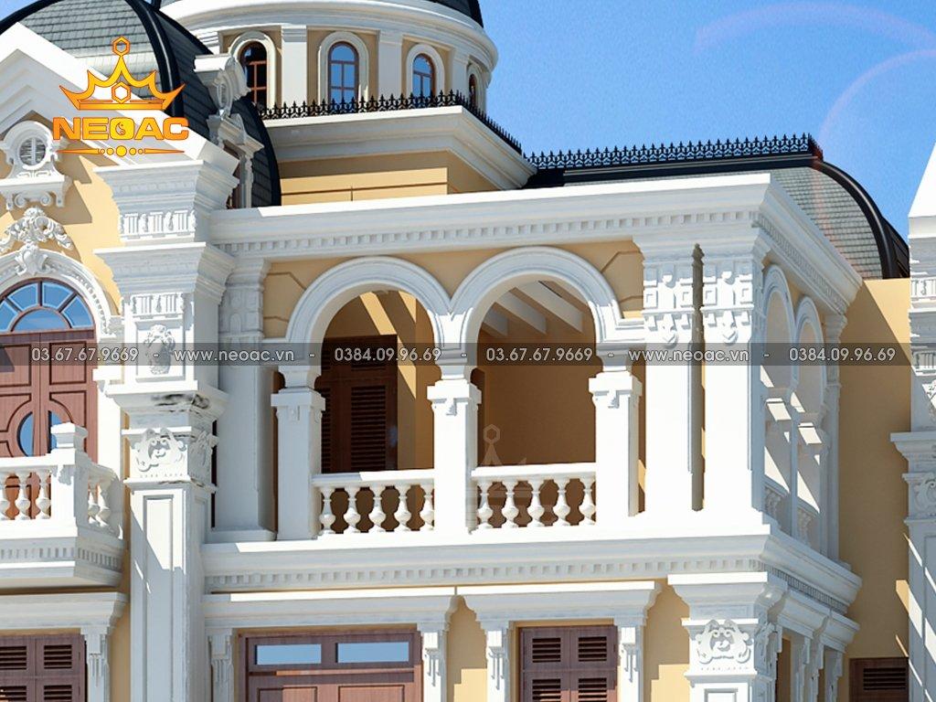 Kiến trúc biệt thự 4 tầng tân cổ điển 110m2