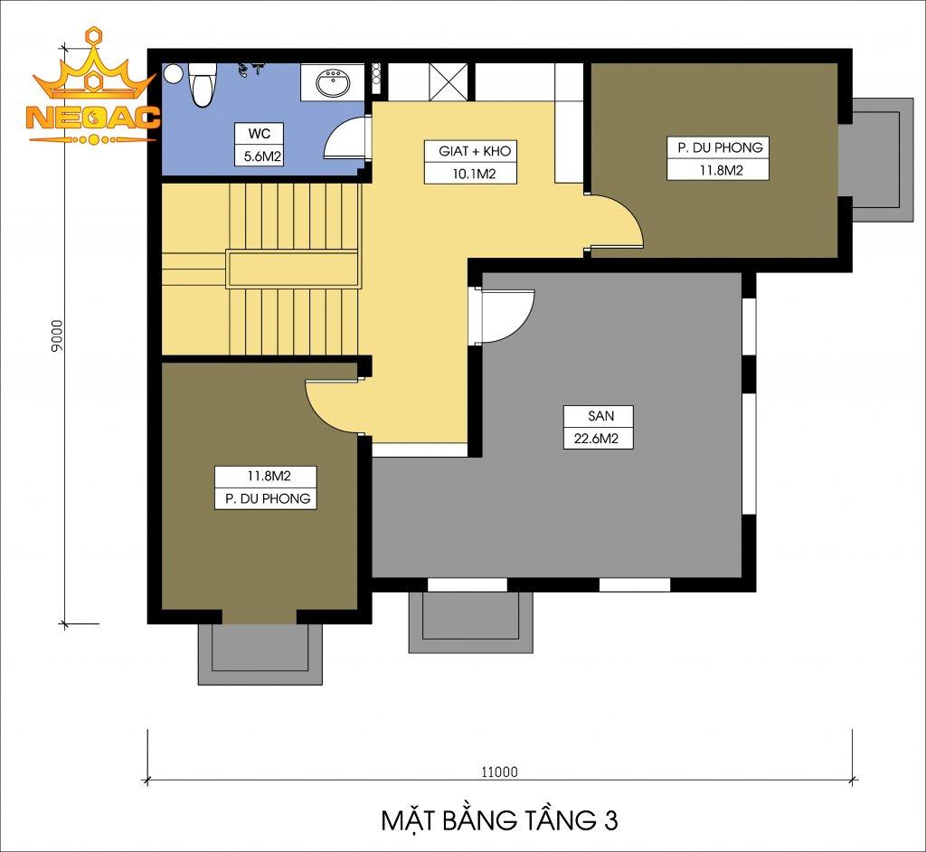 Bản vẽ biệt thự Pháp 4 tầng 110m2