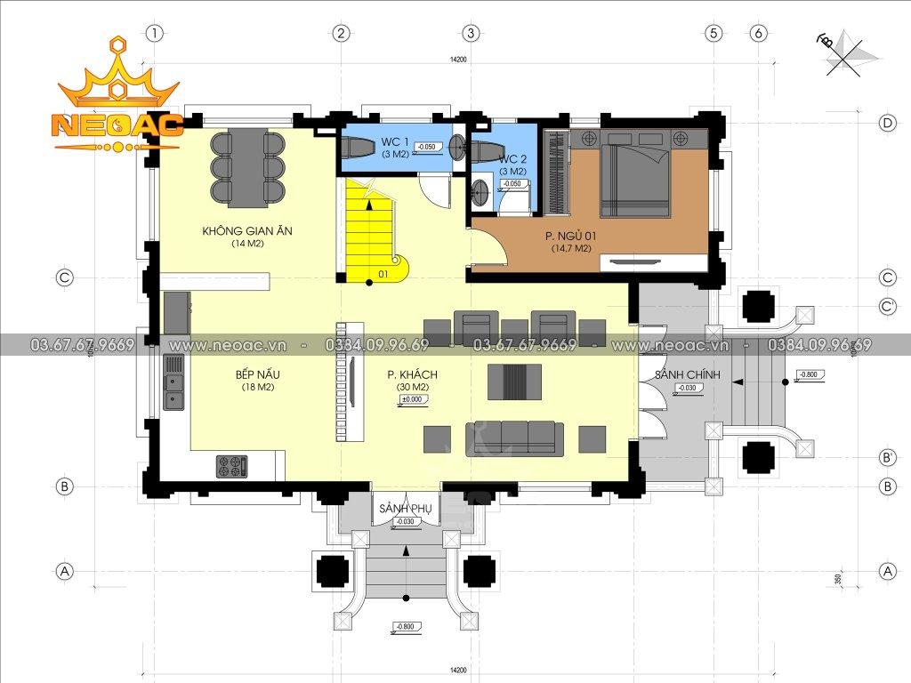 Mẫu biệt thự 4 tầng tân cổ điển 120m2