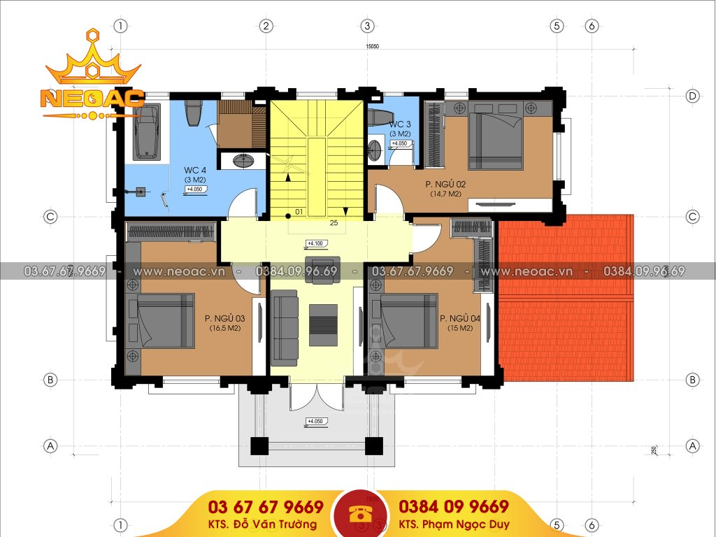 Xây dựng biệt thự tân cổ điển 4 tầng 120m2