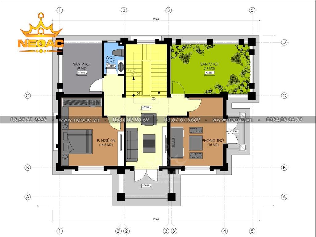 Thiết kế biệt thự tân cổ điển 4 tầng 120m2