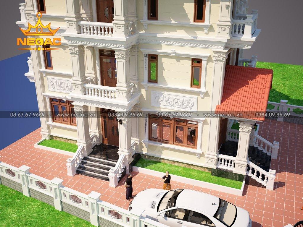 Thiết kế kiến trúc biệt thự tân cổ điển 4 tầng 150m2