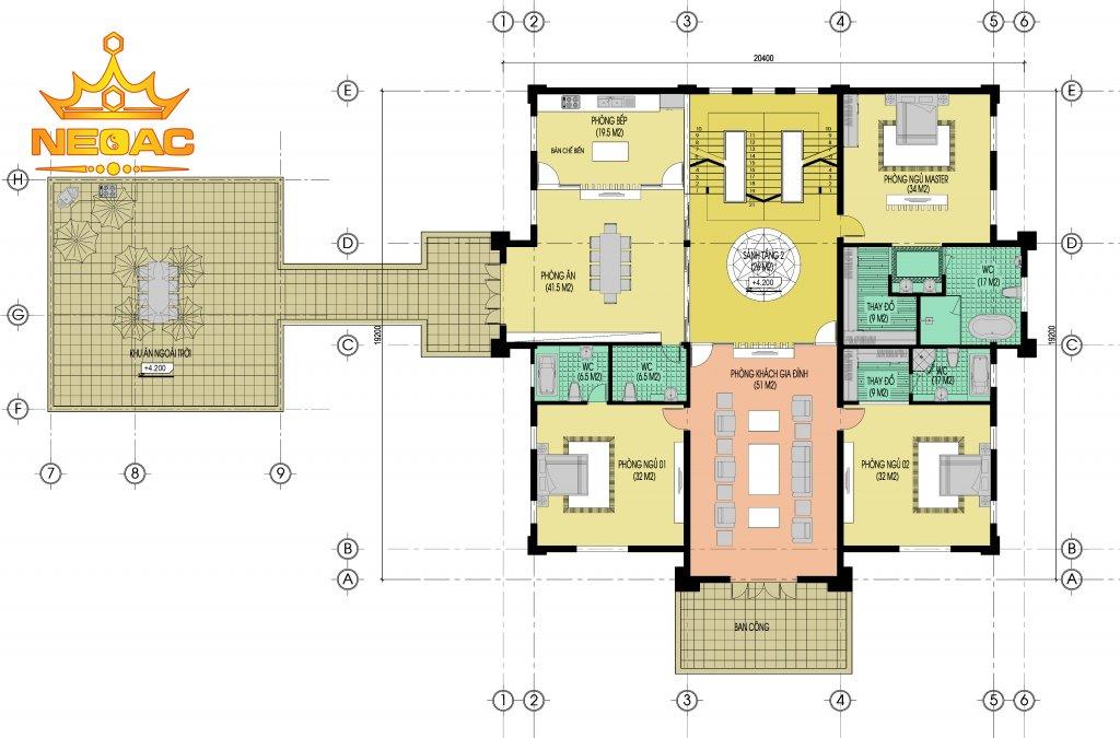 Mẫu biệt thự 4 tầng có bể bơi siêu sang trọng