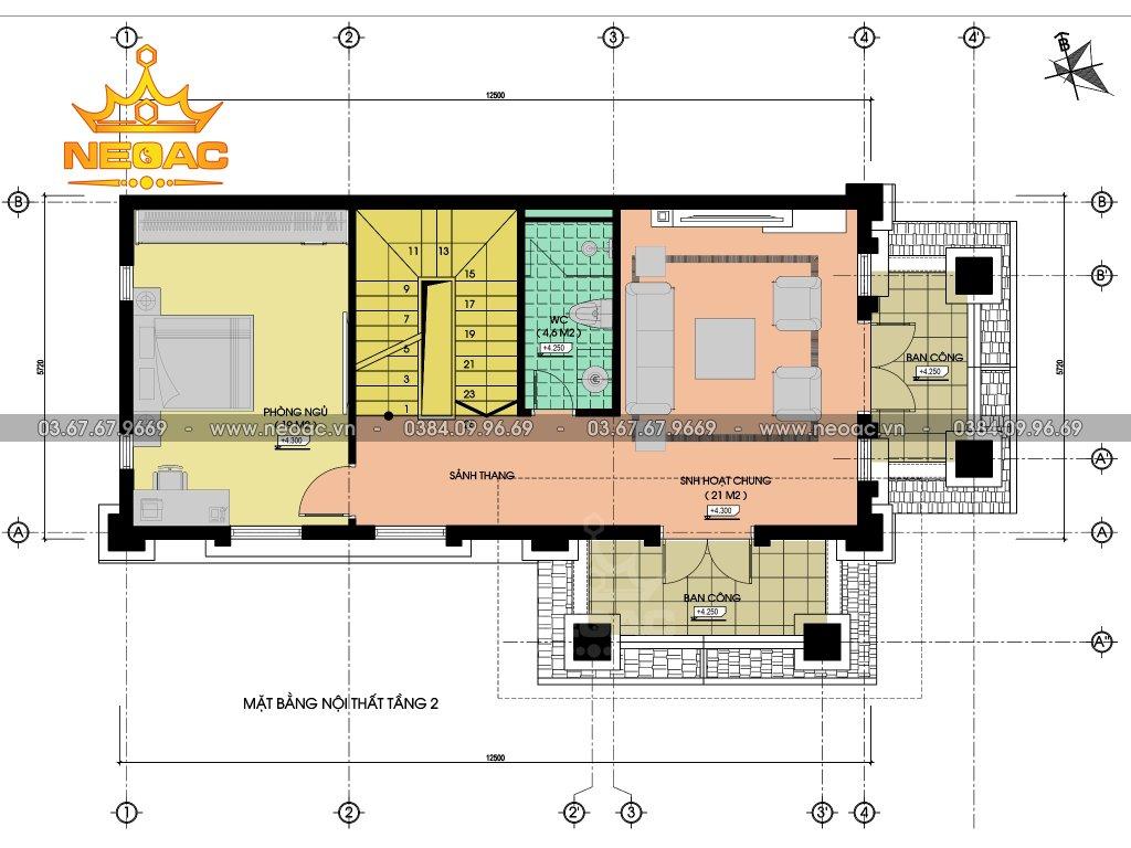 Thiết kế biệt thự 4 tầng tân cổ điển 90m2