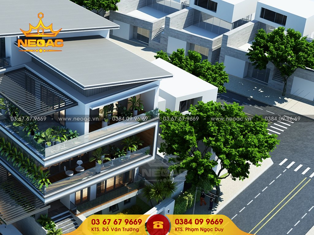 Xây dựng biệt thự mái lệch 5 tầng 155m2