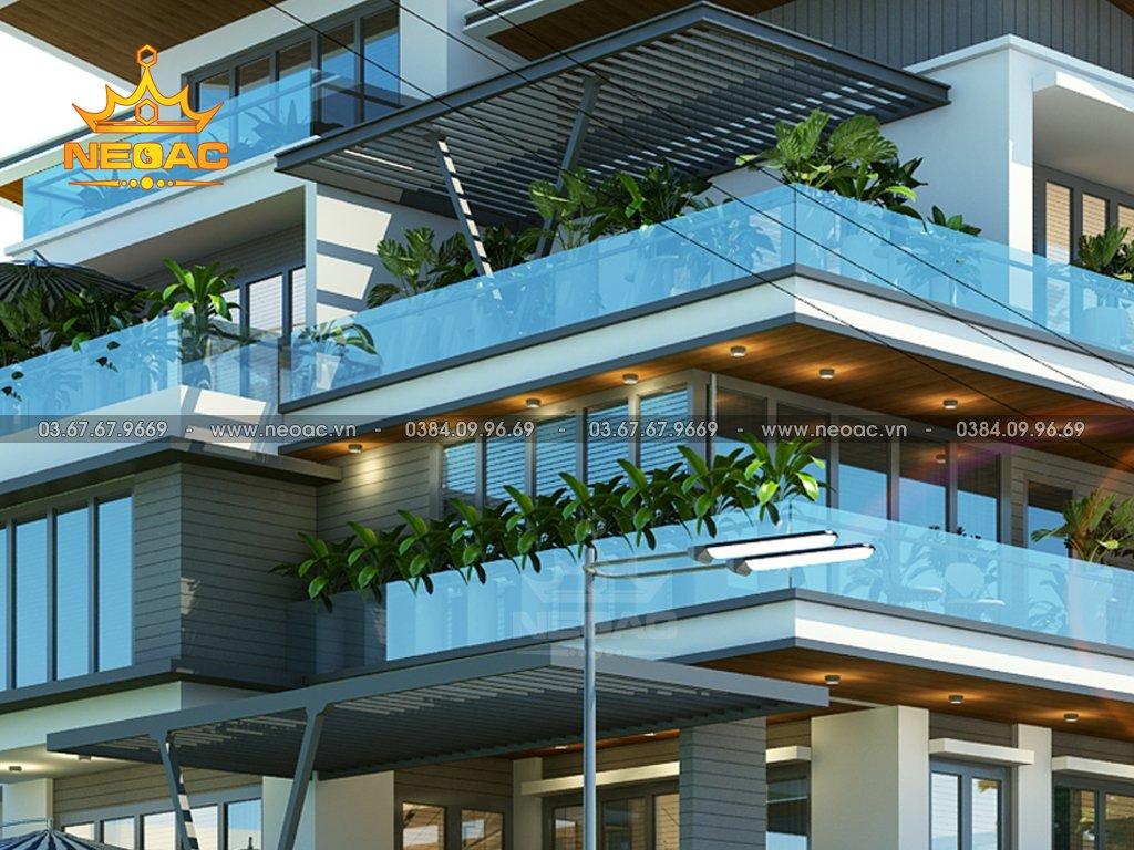 Thiết kế kiến trúc biệt thự mái lệch 5 tầng 155m2
