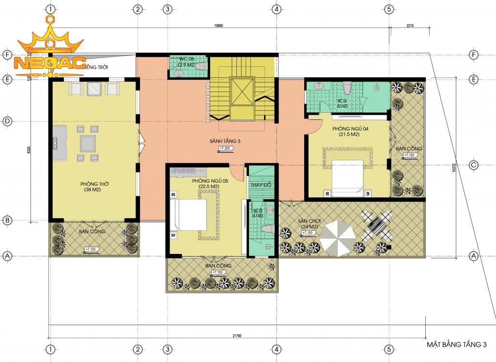 Bản vẽ biệt thự hiện đại 5 tầng 155m2