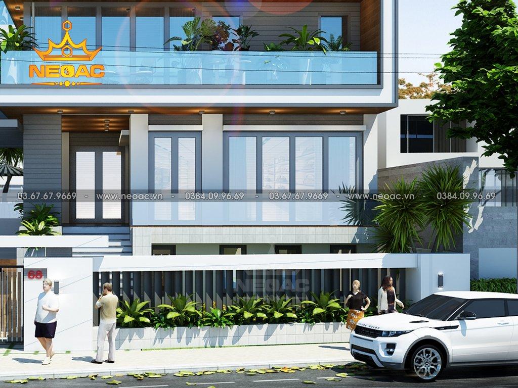 Thiết kế kiến trúc biệt thự 5 tầng mái lệch 155m2