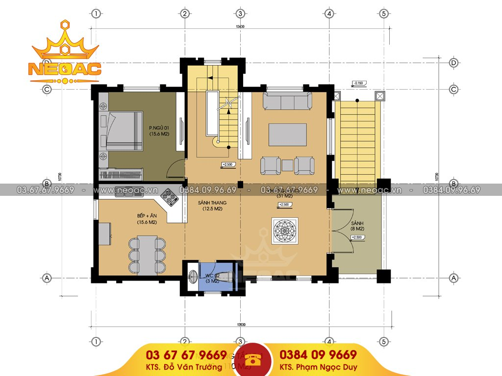 Bản vẽ biệt thự tân cổ điển 5 tầng 120m2