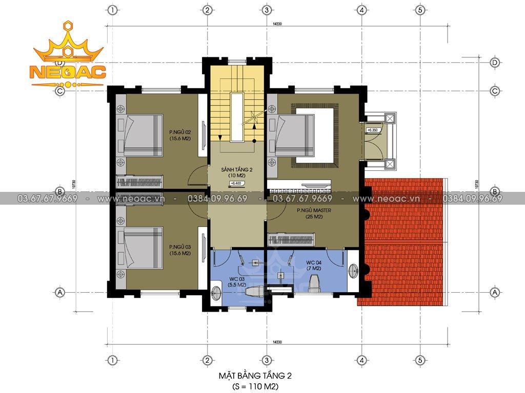 Thiết kế kiến trúc biệt thự tân cổ điển 5 tầng 120m2
