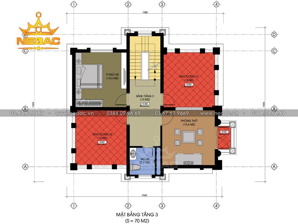 Thiết kế biệt thự tân cổ điển 5 tầng 120m2