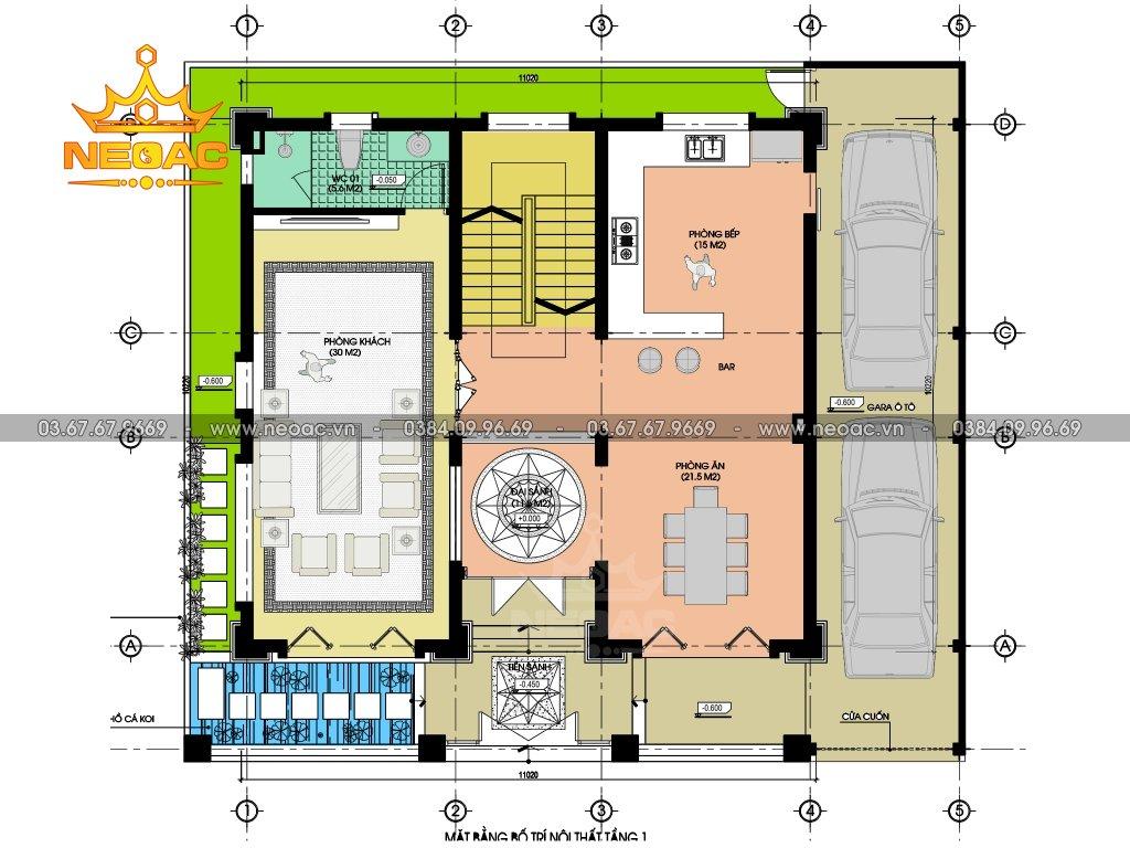 Thiết kế biệt thự 5 tầng tân cổ điển 130m2
