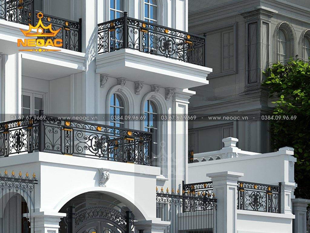 Thiết kế kiến trúc biệt thự tân cổ điển 5 tầng 130m2